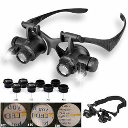 LED Magnifier Double Eye Loupe Glasses Jeweler Watch Repair