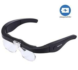 YOCTOSUN  LED  Rechargeable Spectacle Magnifier Glasses USB