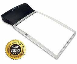 light rectangular handheld magnifier reading