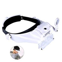 Lighted Head Magnifying Glasses Visor Headset with Light Hea