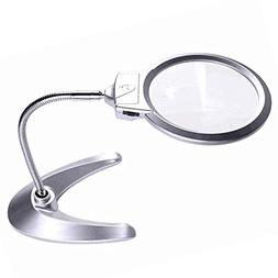 XYK Large 2X 5X LED Lighted Magnifier with Stand - Folding D