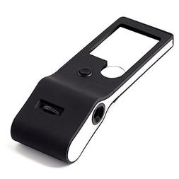 Fancii LED Lighted 3X 10X Small Magnifying Glass with 15X Ma