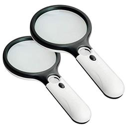 2 Pack Magnifier 3 LED Light, Marrywindix 3 X 45X Handheld M