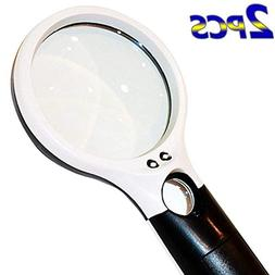 BESTSUN Magnifier 3 LED Light, 3X 45x Handheld Magnifying Gl