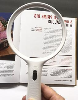 "5 Inch Extra Large LED Magnifier Magnifying Glass, Huge 5"" L"