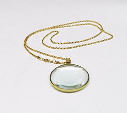 "MAGNIFIER 5X NECKLACE GLASS LENS 1-3/4"" ROUND GOLD FRAME & C"