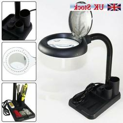 Magnifying Crafts Glass Desk Lamp With 5X 10X Magnifier Loup