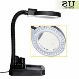 Magnifying Crafts Glass Desk Lamp With 5X 10X Magnifier With