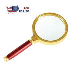 "Magnifying Glass 10X Reading Magnifier HANDHELD 2"" Glass Len"