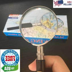 "Magnifying Glass 6X Reading Magnifier HANDHELD 2"" Glass Lens"