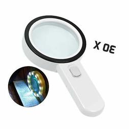 Magnifying Glass with Light, 30X Illuminated Large Magnifier