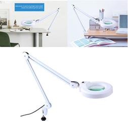 5x Magnifying Glass Clamp on Table Desk Lamp Light Magnifier