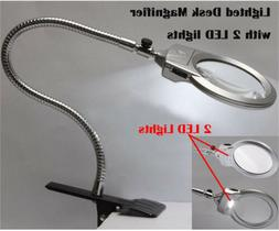 MAGNIFYING GLASS CLAMP ON TABLE DESK LAMP LED LIGHT MAGNIFIE