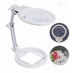 Large Magnifying Glass Lamp with Led Light and Stand Magnifi