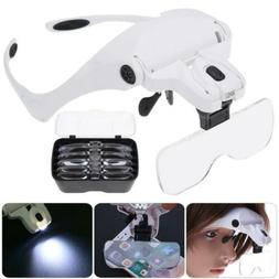 Magnifying Glass Lens LED Light Lamp Visor Head Loupe Jewele