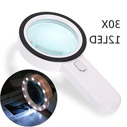 30X Magnifying Glass Light,Gemwon Illuminated High Power Han