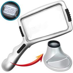 Large 3X Magnifying Glass with 10 Ultra Bright &  LED Lights