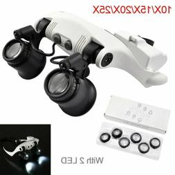 Magnifying Glasses 8Lens LED Light Headband Magnifier Jewelr