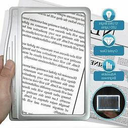 MagniPros 3X Large Ultra Bright LED Page Magnifier with 12 A