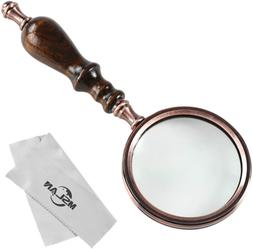 MSLAN Magnifying Glass 10X Antique Copper Handheld with Wood