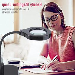 New 5x 12x LED Magnifying Lamp With Clamp Desk Magnifier Lig