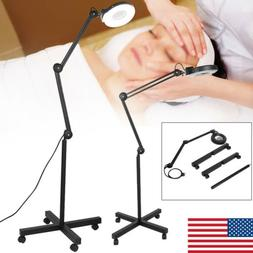 New 5X Magnifier Lamp Glass Diopter Rolling Floor Stand Magn