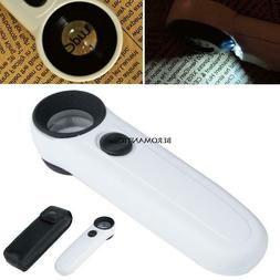 New High Power 40x Lighted Magnifying Glass Hand Held Magnif