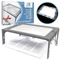 3X Large Full Page Magnifier with 12 LED Lights, Foldable Fl