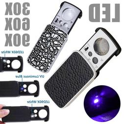 Pocket Magnifying Magnifier Jeweler Eye Glass Loupe Loop LED