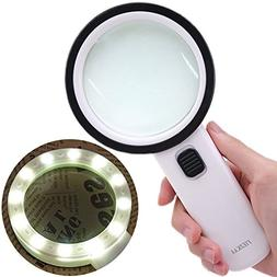 30X High Power Handheld Magnifying Glass with Led Light, Dou