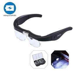 YOCTOSUN Rechargeable Head Magnifier Glasses, Eyeglasses Mag