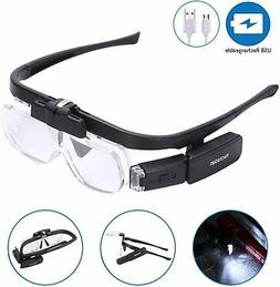 YOCTOSUN Rechargeable Head Magnifier Glasses, Hands Free Hea