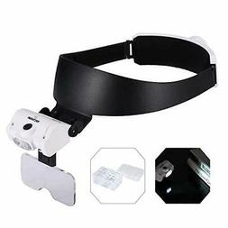 YOCTOSUN Rechargeable Headband Magnifier with 2 LED Lights a
