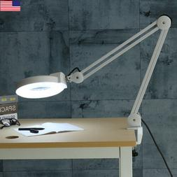 Swing Arm Magnifying Desk Clamp Work Bench Light Lamp Nail A
