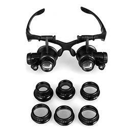 GuDoQi Watch Repair Magnifier Head Mount Magnifier with LED