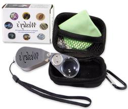 Jewelers Loupe 40x Magnifier LED/UV Illuminated with Case by